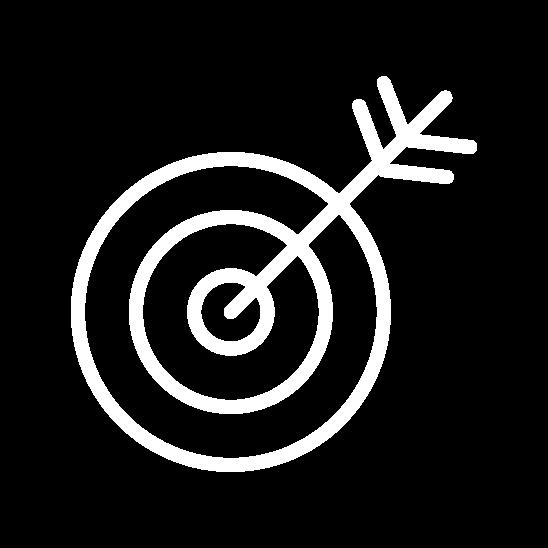 pijl in de roos icoon wit
